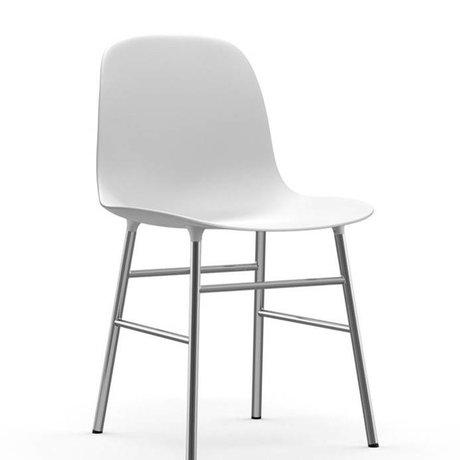Normann Copenhagen Form-Stuhl aus weißem Kunststoff Chrom 78x48x52cm