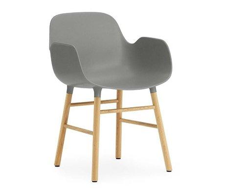 Normann Copenhagen Chair with armrest Form gray plastic walnut wood 80x56x52cm