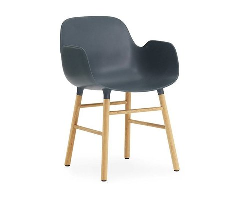 Normann Copenhagen Chair with armrest Form blue plastic walnut wood 80x56x52cm