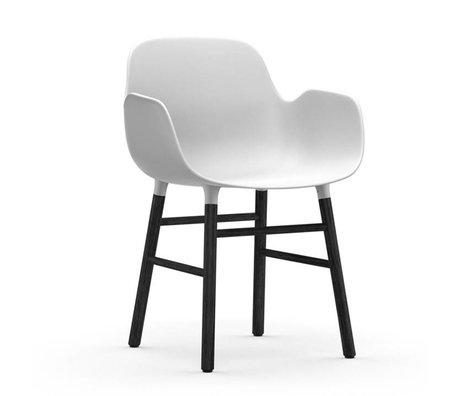 Normann Copenhagen Stuhl mit Armlehnen Formular aus weißen Kunststoff Holz 80x56x52cm