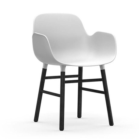 Normann Copenhagen Chair with armrest Form white black plastic wood 80x56x52cm