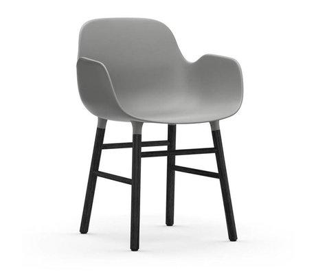 Normann Copenhagen Chair with armrest Form gray black plastic wood 80x56x52cm