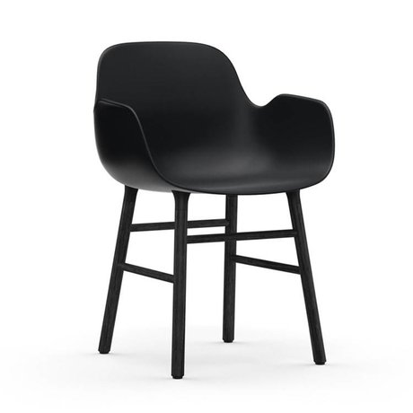 Normann Copenhagen Chair with armrest Form black plastic wood 80x56x52cm