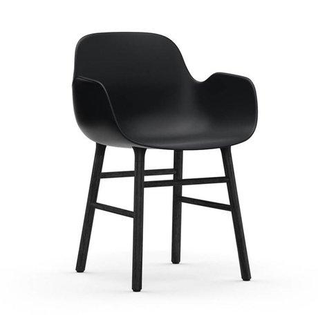 Normann Copenhagen Stuhl mit Armlehnen Formular aus schwarzem Kunststoff Holz 80x56x52cm