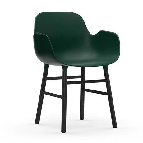 Normann Copenhagen Stuhl mit Armlehnen Formular grün schwarzen Kunststoff Holz 80x56x52cm