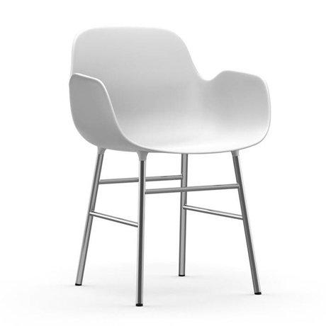 Normann Copenhagen Sessel Formular aus weißem Kunststoff Chrom 80x56x52cm