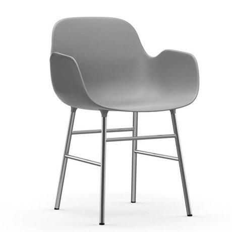 Normann Copenhagen Stoel met armleuning Form grijs kunststof chrome 80x56x52cm