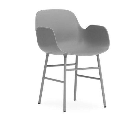 Normann Copenhagen Chaise avec accoudoirs formulaire gris 80x56x52cm en acier en plastique