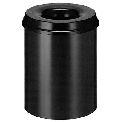Vlamdovende afvalbak in metaal - 15 l - ZWART