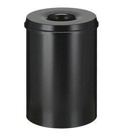 Vlamdovende afvalbak in metaal - 30 l - ZWART
