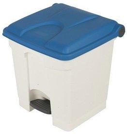 Bomabin Select Pedal - 30 l - WIT - deksel BLAUW(Voorheen: Pedaalemmer Color - 30 l - WIT - deksel BLAUW)