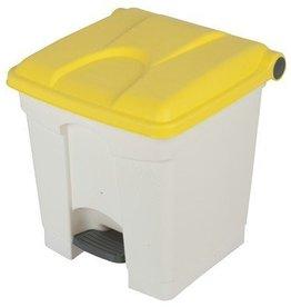 Bomabin Select Pedal - 30 l - WIT - deksel GEEL(Voorheen: Pedaalemmer Color - 30 l - WIT - deksel GEEL)