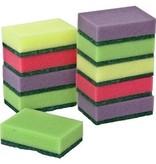 Schuurspons gekleurd - pak 10 stuks