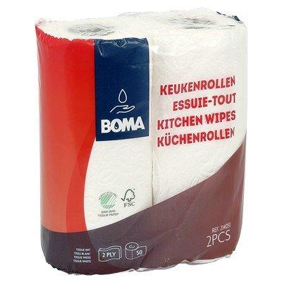 Keukenrol - zuiver tissue - 2 laags - 50 vel - gewafeld - WIT - per 2 rollen