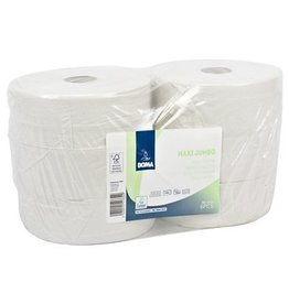 Maxi Jumbo Toiletpapier - recycled tissue - 2-laags - 350 m - WIT - 6 rollen