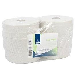 Papier toilette Maxi Jumbo - tissu recyclé - 2 plis - 350 m  - BLANC - 6 rouleaux