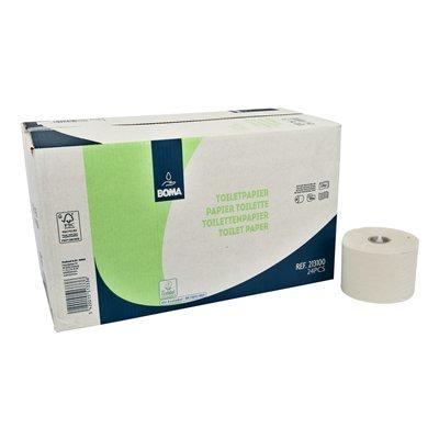 Systeem toiletpapier met doppen - recycled tissue - 2 laags - 100 m / 725 vel - WIT - 24 rollen