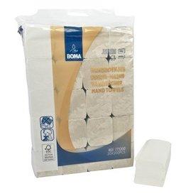 Essuie-mains Singlefold - tissu recyclé - 2 plis - 23 x 24 cm - BLANC NATUREL - 4000 pièces (20x200)
