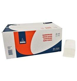 Essuie-mains Singlefold - tissu pur - 2 plis - 24 x 21 cm - BLANC - 4000 pièces (20x200)