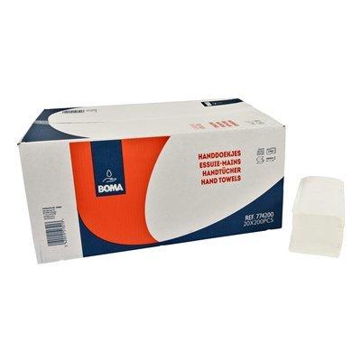 Singlefold handdoekjes - zuiver tissue - 2 laags - 24 x 21 cm - WIT - 4000 stuks (20 x 200)