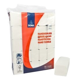 Essuie-mains Multifold - tissu pur - 2 plis - 32 x 21 cm - BLANC - 3000 pièces (25x120)