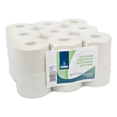 Traditioneel toiletpapier - recycled tissue - 2-laags - 740 vel - gewafeld - WIT - 18 rollen