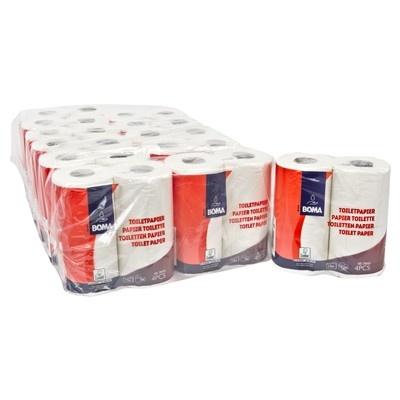 Papier toilette traditionnel - tissu pur - 2 plis - 200 coupons - gaufré - BLANC - 48 rouleaux (12x4)
