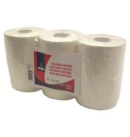 Keukenrol / multirol - zuiver tissue - 2-laags - 280 vel - gewafeld - WIT - per 3 rollen