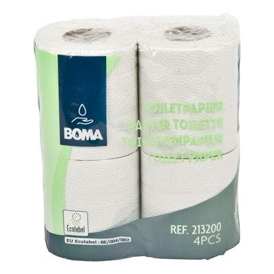 Papier toilette traditionnel - tissu recyclé - 2 plis - 200 coupons - gaufré - BLANC - 64 rouleaux (16x4)