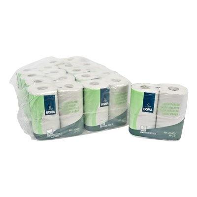 Papier toilette traditionnel - tissu recyclé - 2 plis - 400 coupons - gaufré - BLANC - 40 rouleaux (10x4)