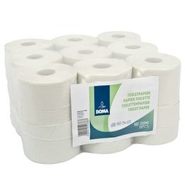 Traditioneel toiletpapier - recycled tissue - 2-laags - 740 vel - gewafeld - WIT - 18 rollen