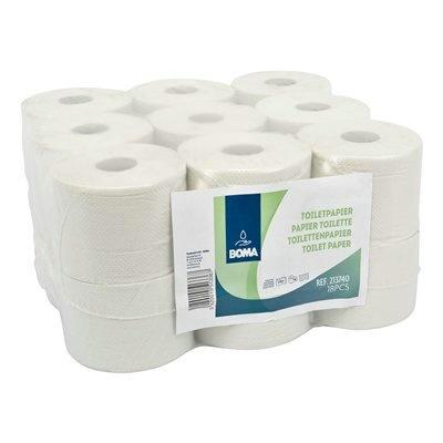 Papier toilette traditionnel - tissu recyclé - 2 plis - 740 coupons - gaufré - BLANC - 18 rouleaux