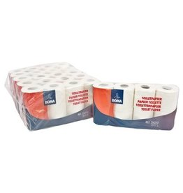 Traditioneel toiletpapier - zuiver tissue - 3 laags - 250 vel - gewafeld - WIT - 48 rollen (6x8)