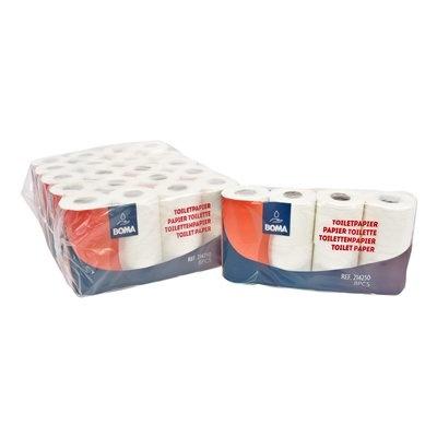 Papier toilette traditionnel - tissu pur - 3 plis - 250 coupons - gaufré - BLANC - 48 rouleaux (6x8)