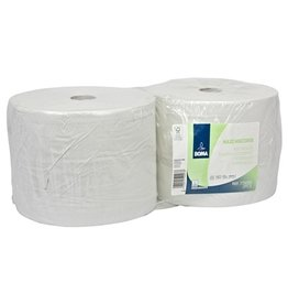 Maxi Multirol - recycled tissue - 2 laags - 555 m x 25 cm - WIT - 2 rollen