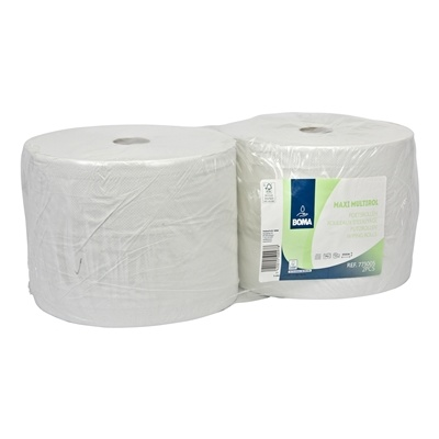 Maxi Multirol - tissu recyclé - 2 plis - 555 m x 25 cm - BLANC - 2 rouleaux