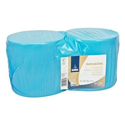 Maxi Multirol - tissu recyclé - 2 plis - 370 m x 25 cm - BLEU - 2 rouleaux
