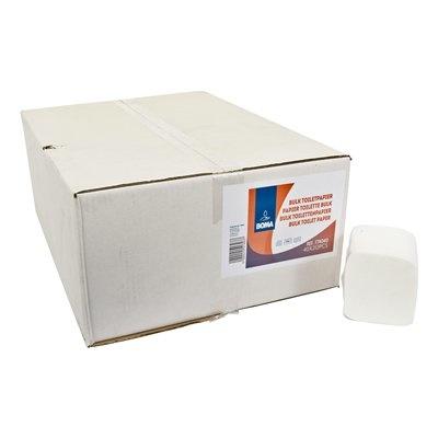 Papier toilette feuille à feuille - tissu pur - 2 plis - 212 coupons -  BLANC - 40 liasses