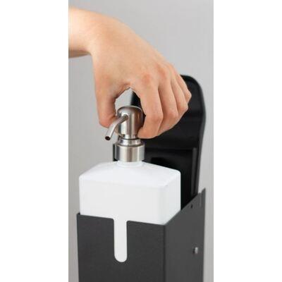 Station d'hygiène des mains Doria 2 - colonne + distributeur rechargeable avec commande au pied et à coude - avec réservoir et pompe supplémentaire - 1000 ml