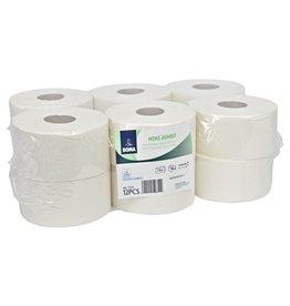 Mini Jumbo toiletpapier - recycled tissue - 2 laags - 180 m - WIT - 12 rollen