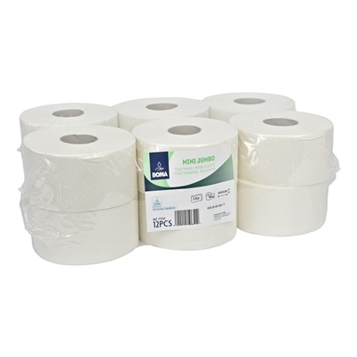 Papier toilette Mini Jumbo - tissu recyclé - 2 plis - 180 m  - BLANC - 12 rouleaux