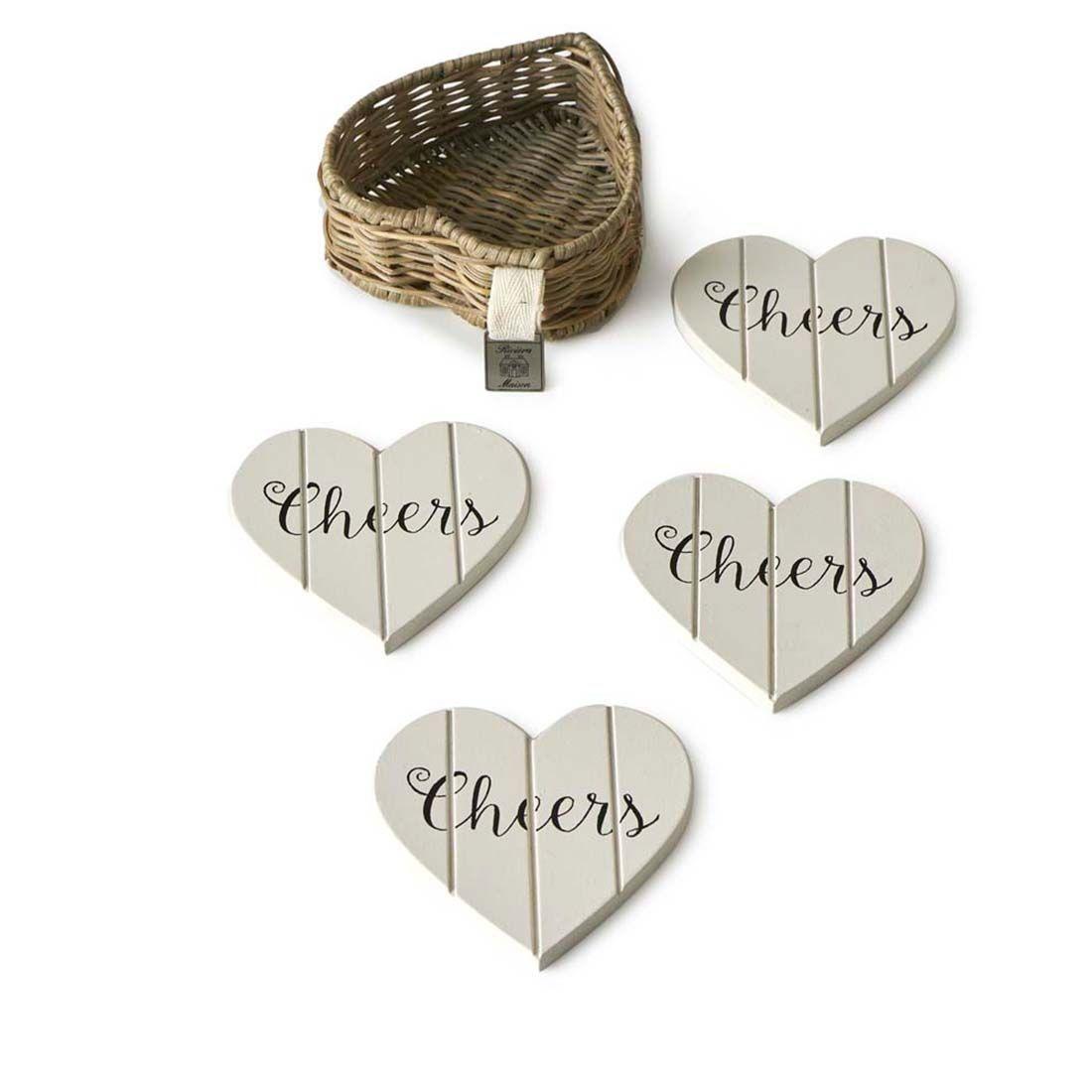 Rivièra-Maison Rivièra Maison Rustic Rattan Heart Coasters