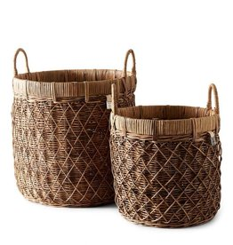 Rivièra-Maison RM Rustic Rattan Diamond Weave Basket Set of 2 pieces