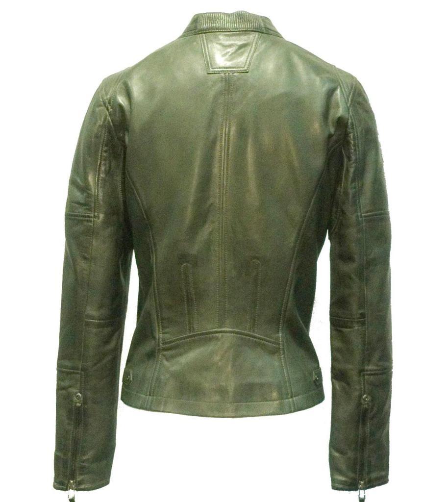 Amber -Jacke aus 100% Kalbsleder Grün.