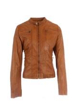 Amber -Jacke aus 100% Kalbsleder Cognac.