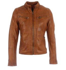 Amber -Jacke aus 100% Kalbsleder Cognac