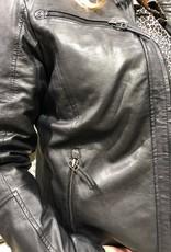 Amber -Jacke aus 100% Kalbsleder Schwarz.