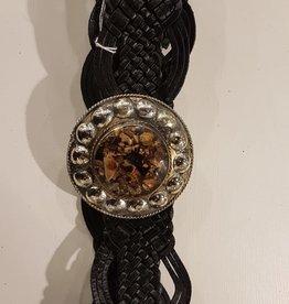 Schwarz geflochtener Ledergürtel