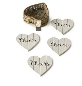 Rivièra-Maison RM Rustic Rattan Heart Coasters