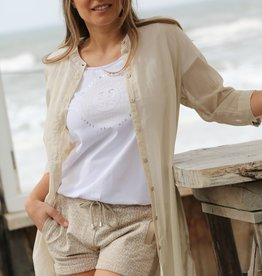 ZOSO 214Cannes Luxury Voile Blouse 0007-Sand
